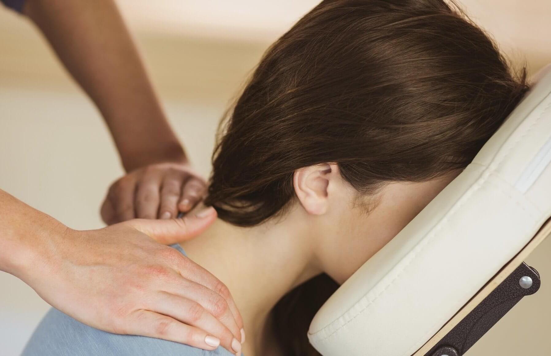 corporate massage, neck closeup