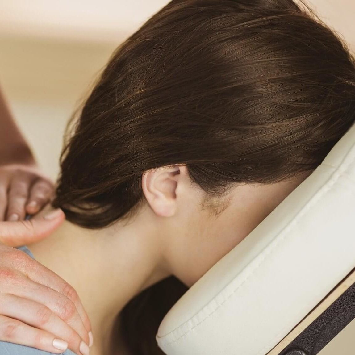 corporate massage, neck closeup
